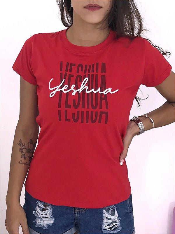 T-SHIRTS FEMININA ALGODÃO VERMELHO YESHUA