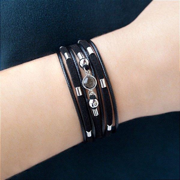 Pulseira bracelete de couro feminina Cristal fumê larga camurça black folheada a ródio hipoalergênico