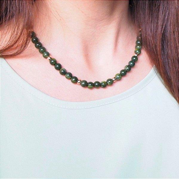 Colar verde rajado resina folheado a ouro 18K hipoalergênico