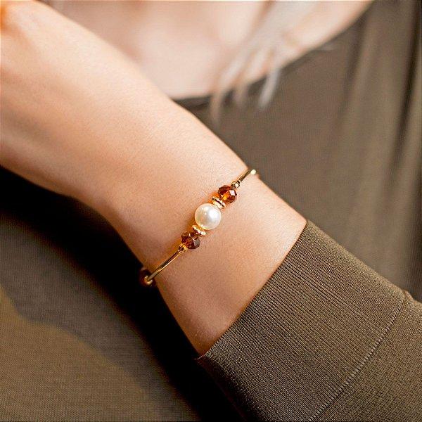 Pulseira  pérola e cristais ambar folheada a ouro 18K hipoalergênico