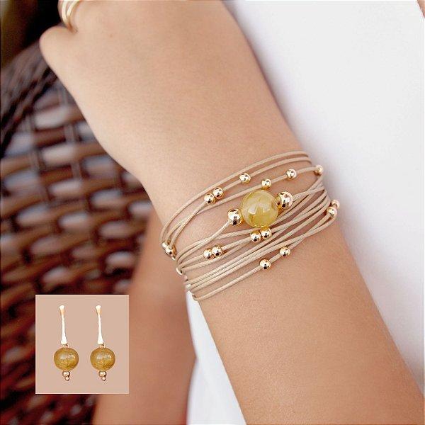 Composição 2 produtos (Brinco pedra e pulseira nude de ímã) folheada a ouro 18K