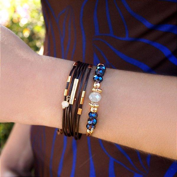 Composição 2 produtos (Pulseira marrom e pulseira de cristais) folheados a ouro 18K