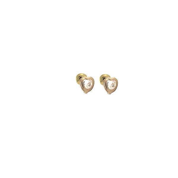 Brinco coração cristal infantil ou 2o furo tarraxa Baby zircônia  folheado a ouro 18K hipoalergênico