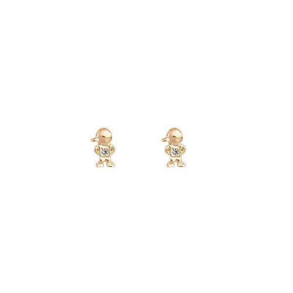 Brinco meninos cristal folheado a ouro 18K hipoalergênico