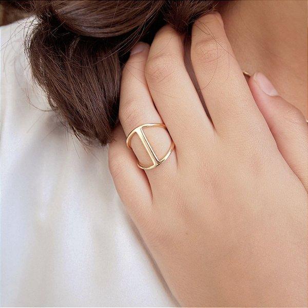 Anel Chanel inspired folheado a ouro 18K hipoalergênico