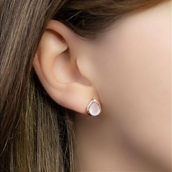 Brinco cristal gota rosa folheado a ouro 18K hipoalergênico