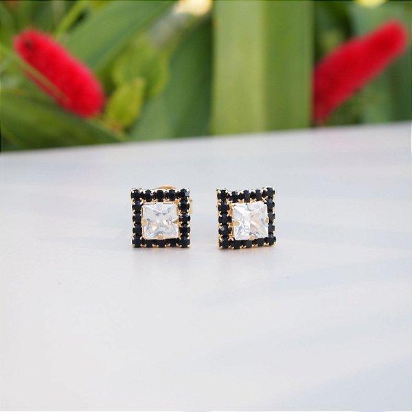 Brinco zircônia quadrada e cristais black folheado a ouro 18K hipoalergênico