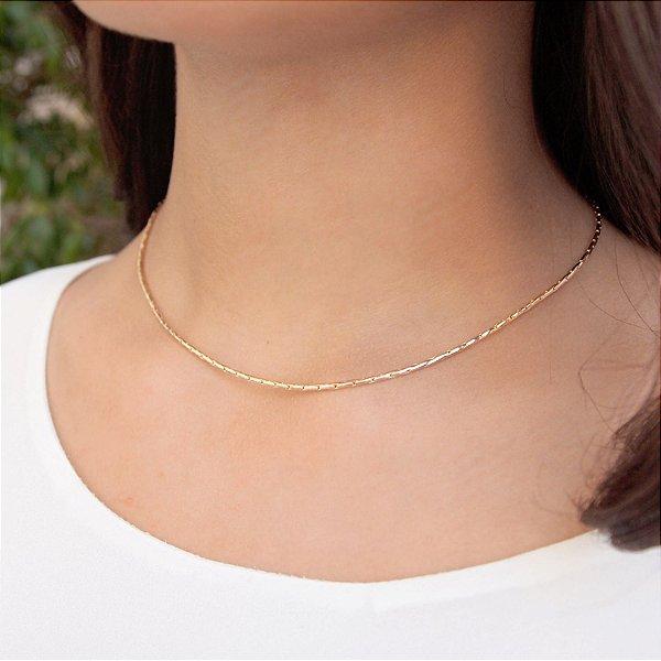 Colar feminino gargantilha  folheado a ouro 18K hipoalergênico