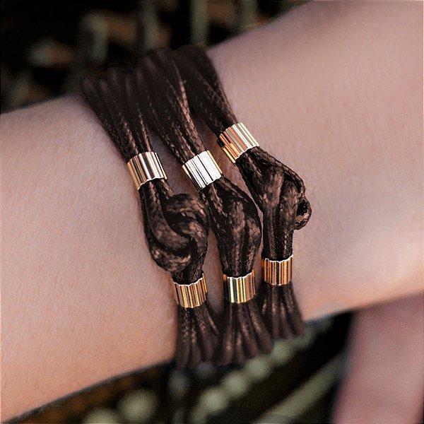 Pulseira de couro feminina nó fio marrom folheada a ouro 18K hipoalergênico