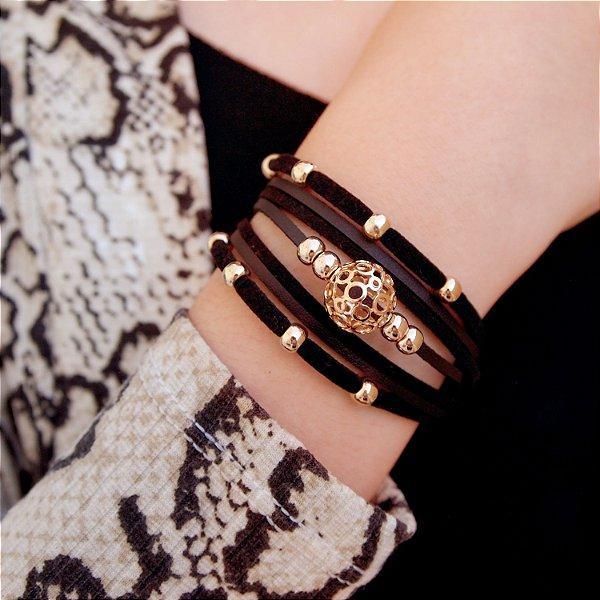 Pulseira de couro feminina camurça black detalhe bola design folheada a ouro 18K hipoalergênico