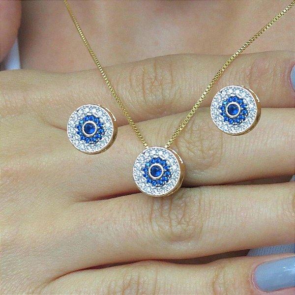 Conjunto zircônia e cristal azul com zircônias cravejadas folheado a ouro 18K hipoalergênico