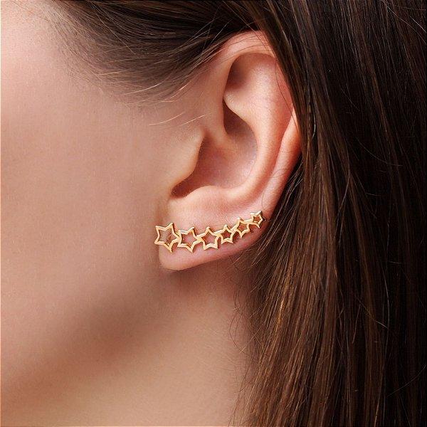 Brinco ear cuff estrelas folheado a ouro 18K hipoalergênico