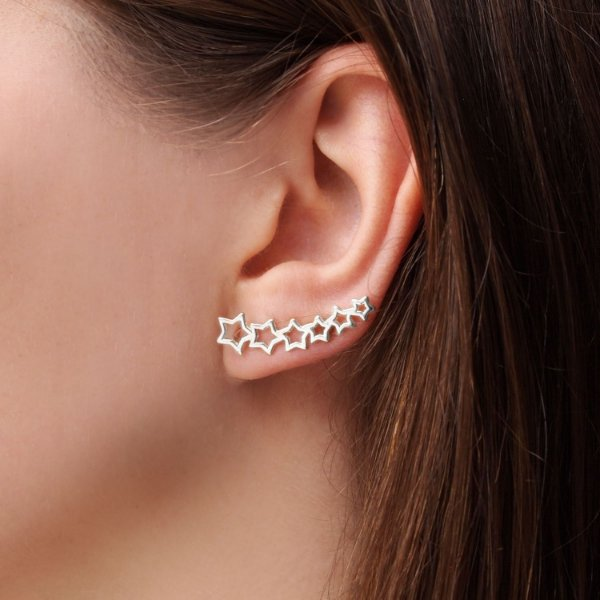 Brinco ear cuff estrelas banho ródio  hipoalergênico