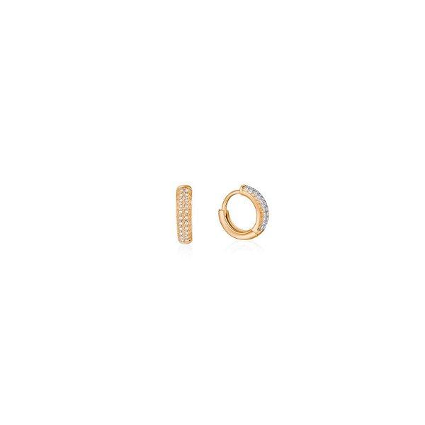 Brinco zircônias cravejadas argola clic  folheado a ouro 18K hipoalergênico