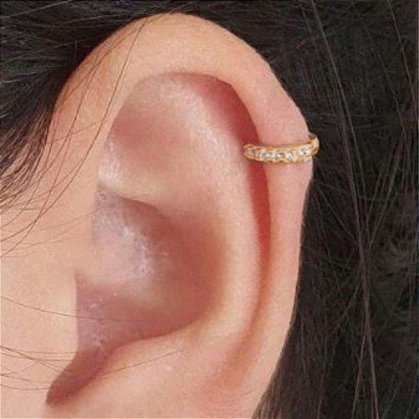 Brinco zircônias cravejadas mini argola clic segundo furo folheado a ouro 18K hipoalergênico