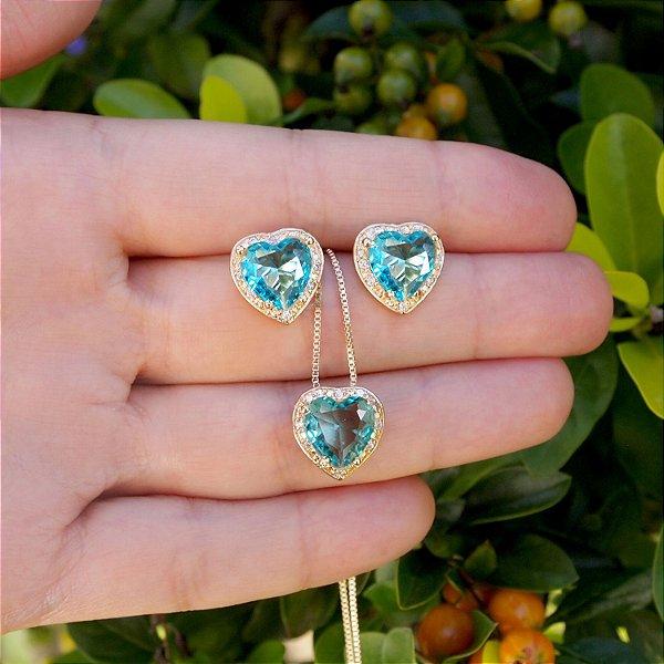 Conjunto coração cristal verde zircônias cravejadas colar e brincos folheado a ouro 18K hipoalergênico