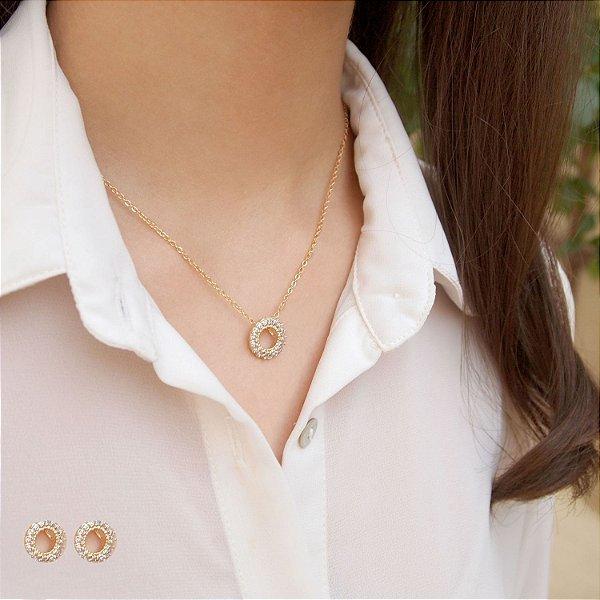 Conjunto zircônias cravejadas círculo vazado colar e brincos folheado a ouro 18K hipoalergênico