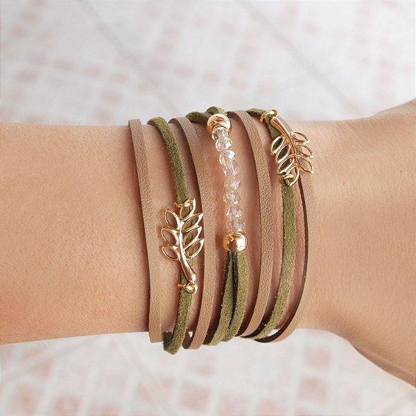 Pulseira bracelete de couro feminina folhas e cristal camurça nude e verde folheada a ouro 18K hipoalergênico