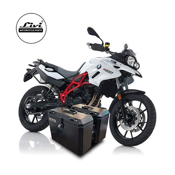 Baús Laterais 35 Litros Livi Exclusivos Para Moto BMW F700 GS + Suporte.