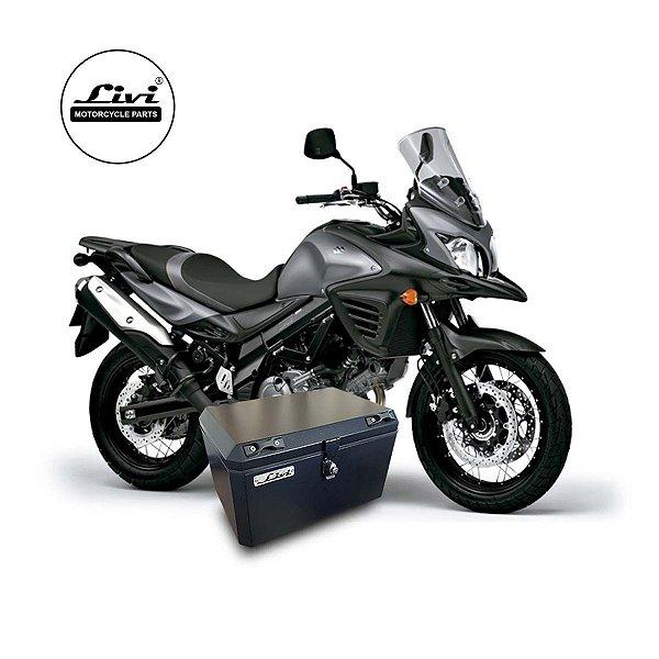 Baú Central Top Case 50 Litros Livi Exclusivo Para Moto V-Strom 650 2014  a 2017 + Suporte.