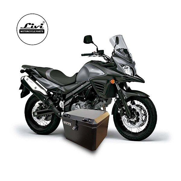 Baú Central Top Case 43 Litros Livi Exclusivo Para Moto V-Strom 650 2014  a 2017 + Suporte.
