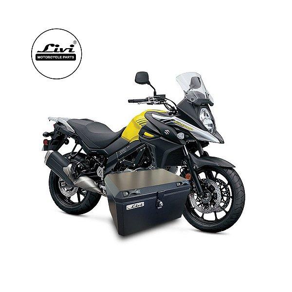 Baú Central Top Case 50 Litros Livi Exclusivo Para Moto V-Strom 650 2017 em diante + Suporte