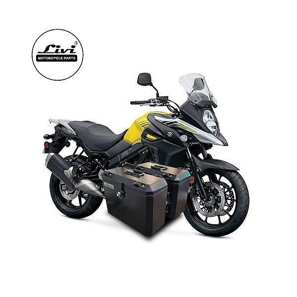 Baús Laterais 35 Litros Livi Exclusivos Para Moto V-Strom 650 2017 em diante + Suporte.