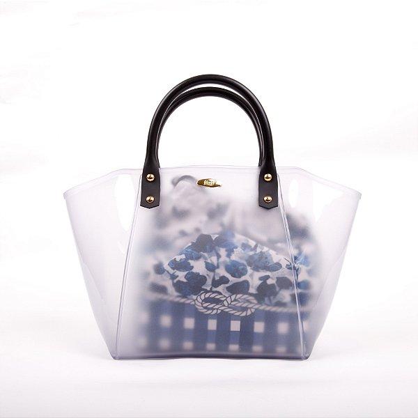 Bolsa Satchel Gasf com sacola floral azul BG005