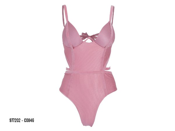 Maio Alto Giro Beachwear Canelle Shine Elástico - Rosa