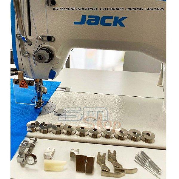 Kit de Calcadores, Bobinas e Agulhas para Máquina de Costura Industrial