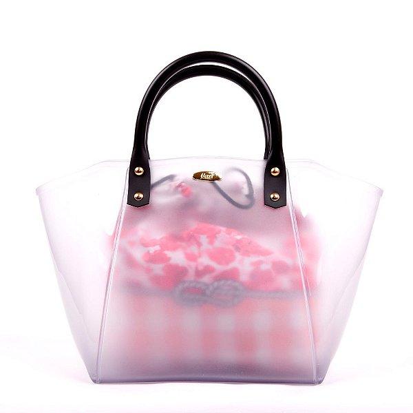 Bolsa Satchel Gasf Transparente Com Sacola Xadrez Floral Rosa BG005 - Unidade
