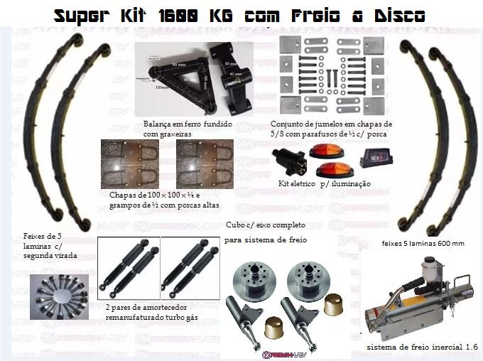 Super kit 1600 kg com sistema de frenagem