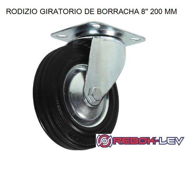 Roda Boba P/ Carreta Barco/ Rodizio 8 Polegadas Pneu Maciço