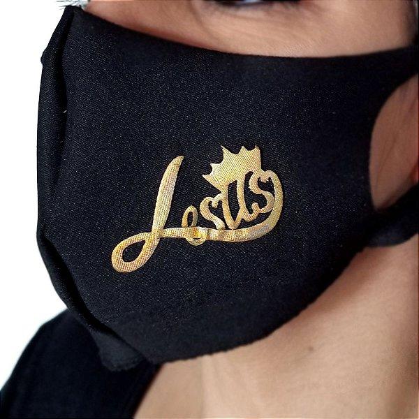 Máscara de proteção Higiênica reutilizável |Jesus coroa dourado|