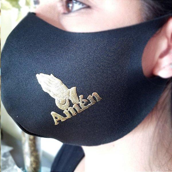 Máscara de proteção Higiênica reutilizável |Amém Dourado|
