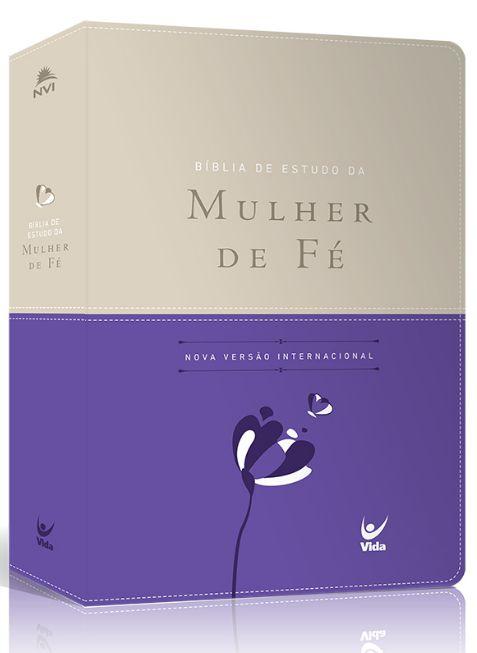 Bíblia de Estudo da Mulher de Fé NVI |Luxo Violeta e Bege|