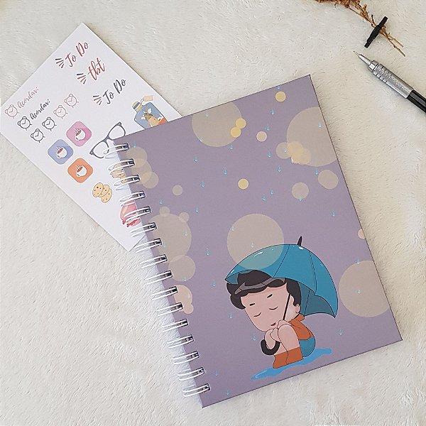 Sketchbook dias cinzas, guarda chuva colorido