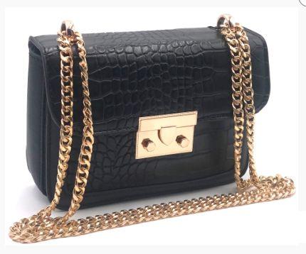Bolsa Pequena Preta com detalhes em dourado