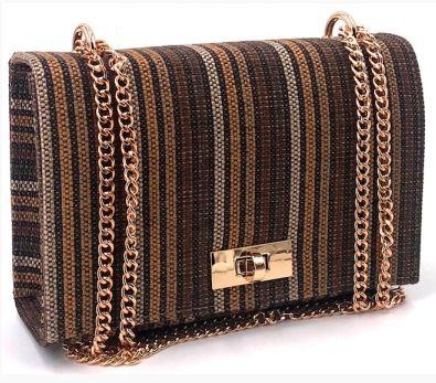 Bolsa de tecido Pequena Caramelo, marrom e dourado