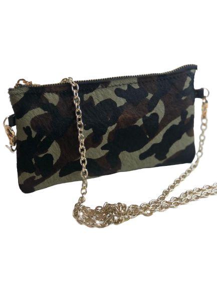 Bolsa pequena Camuflada militar com corrente dourada de Pêlo