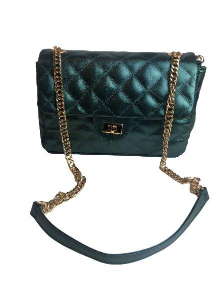Bolsa Feminina Matelasse Estilo Chanel Metalizada de Couro Verde
