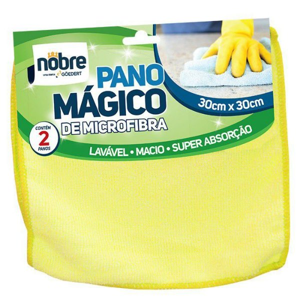 Pano de microfibra 30x30cm Pct c/ 2 unds Amarelo - Nobre