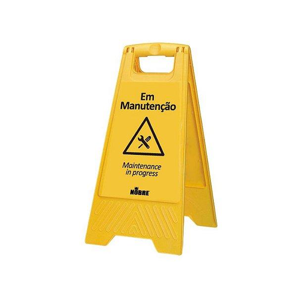 Placa plastica sinalizadora ''Em Manutençao'' - Nobre