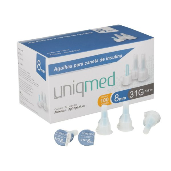 Agulha para Caneta de Insulina TESTFINE 8mm - Uniqmed