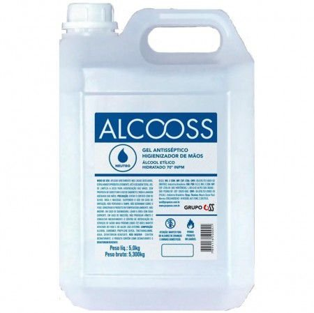 Álcool em gel anti-séptico 5 Litros Cx c/ 3 Galões - OSS