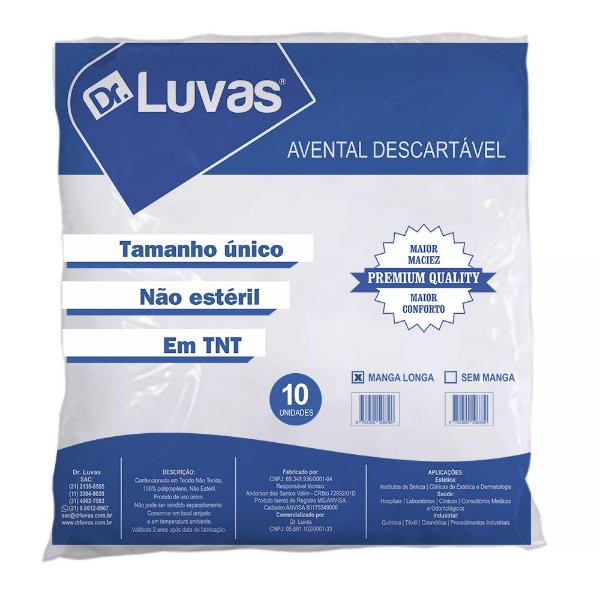 Avental Descartavel Manga Longa Cx c/ 25 pcts - Dr. Luvas