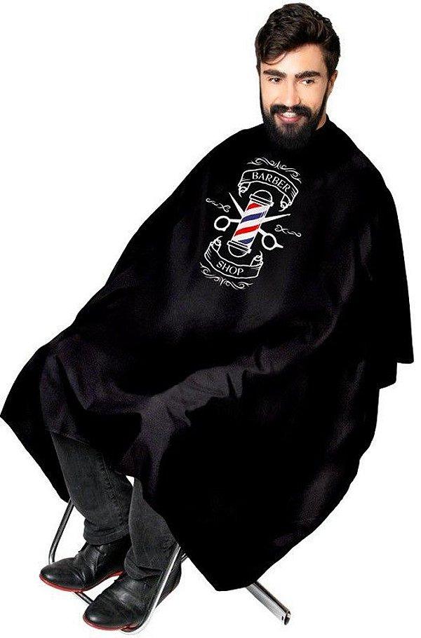 Capa Preta de Cetim Sem Manga com Impressão Barber Shop - Santa Clara