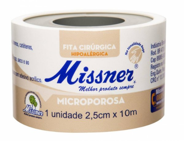 Fita Microporosa Bege 2,5 cm x 10m - Missner