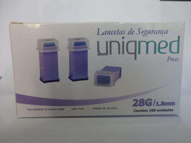 Lancetas de Segurança 28G x 1,8mm- Uniqmed