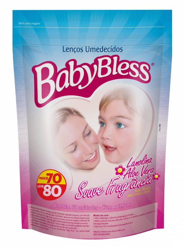 Lenço Umedecido Refil 80 Unds - Baby Bless